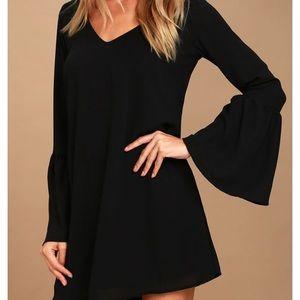 Lulus far wanderings black bell sleeve dress m